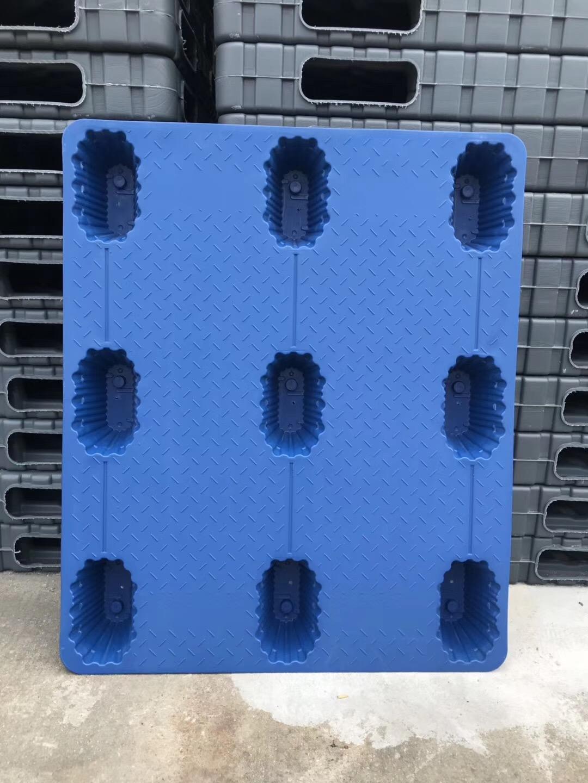 九脚吹塑1210蓝色塑料托盘实物图